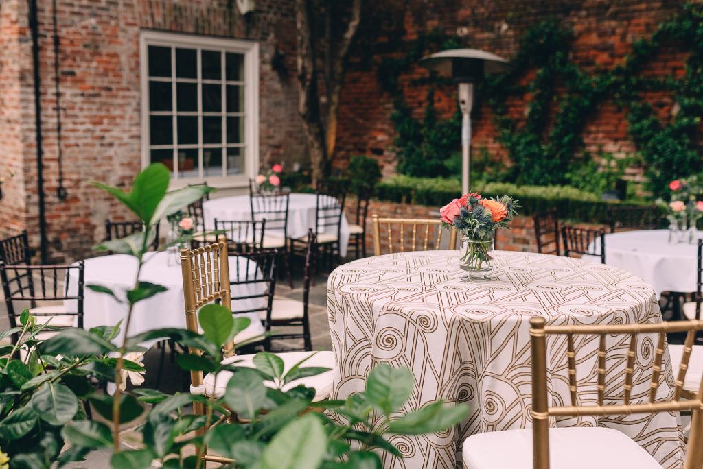 Outdoor wedding reception at Broussard's